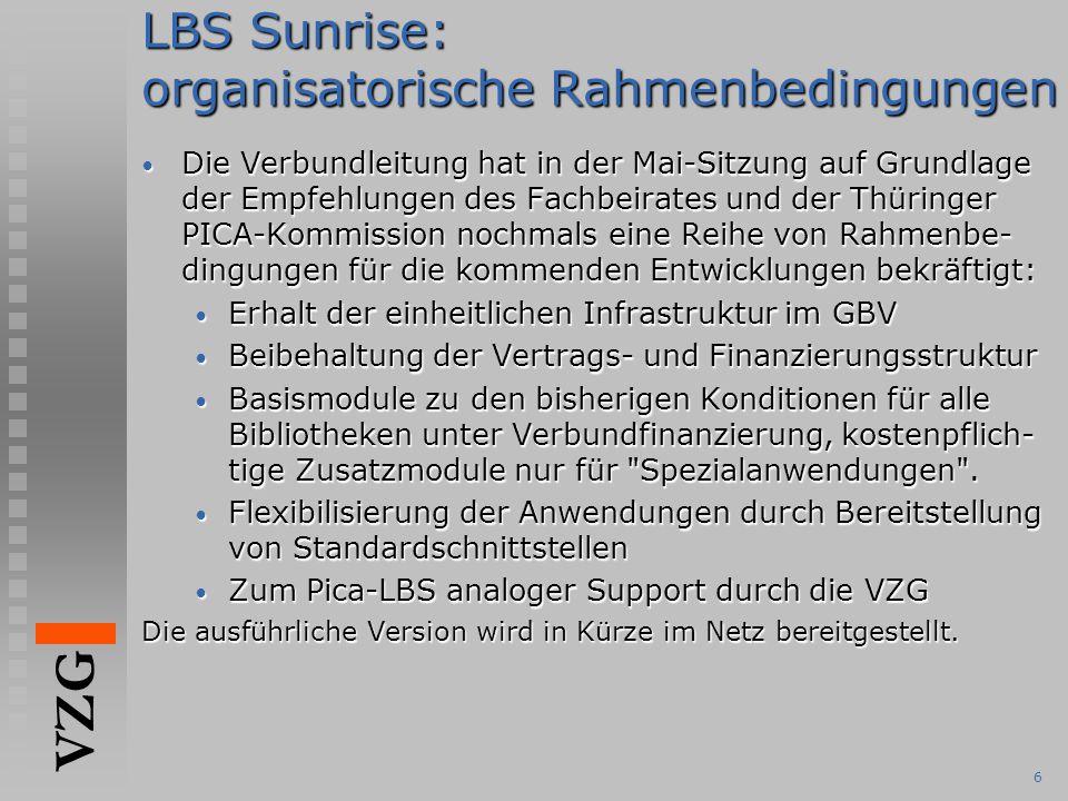 LBS Sunrise: organisatorische Rahmenbedingungen