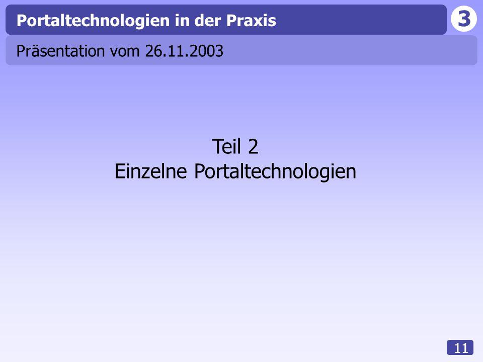 Einzelne Portaltechnologien
