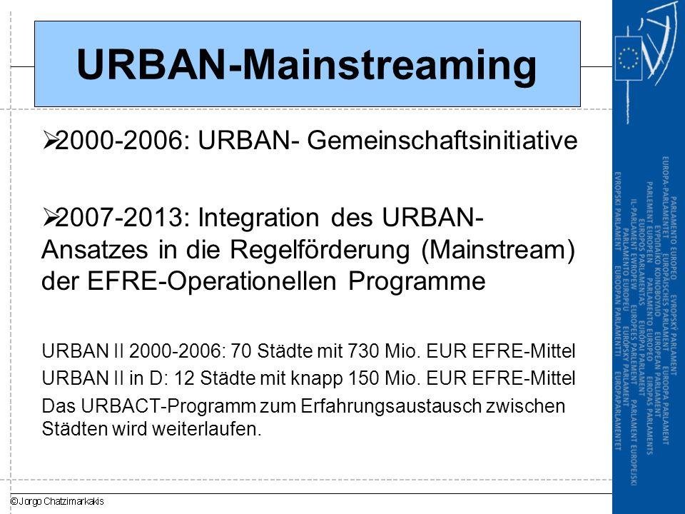 URBAN-Mainstreaming 2000-2006: URBAN- Gemeinschaftsinitiative