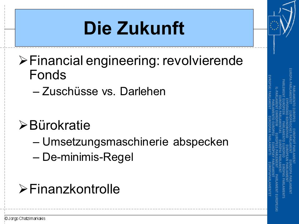 Die Zukunft Financial engineering: revolvierende Fonds Bürokratie
