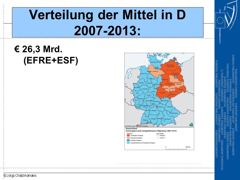 Verteilung der Mittel in D 2007-2013: