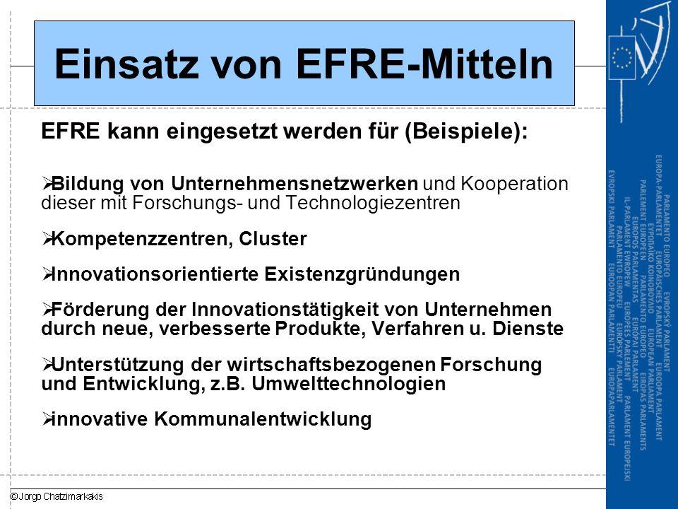 Einsatz von EFRE-Mitteln