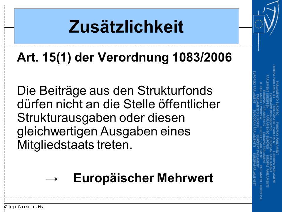 Zusätzlichkeit Art. 15(1) der Verordnung 1083/2006