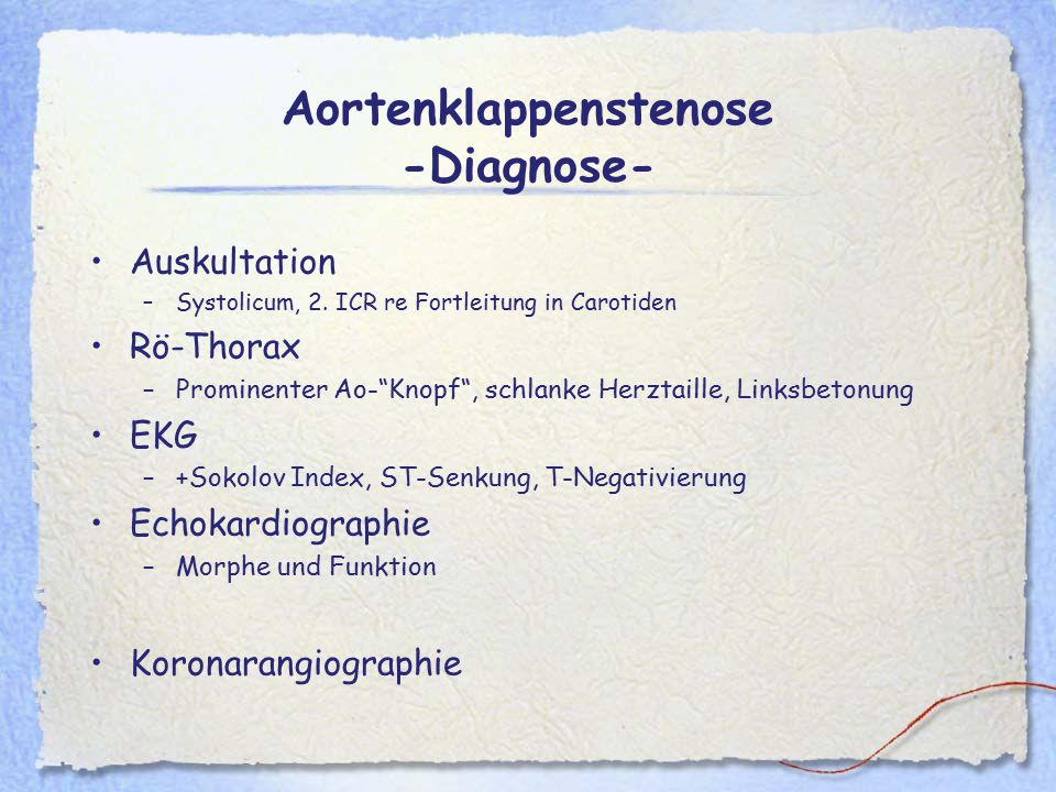 Aortenklappenstenose -Diagnose-