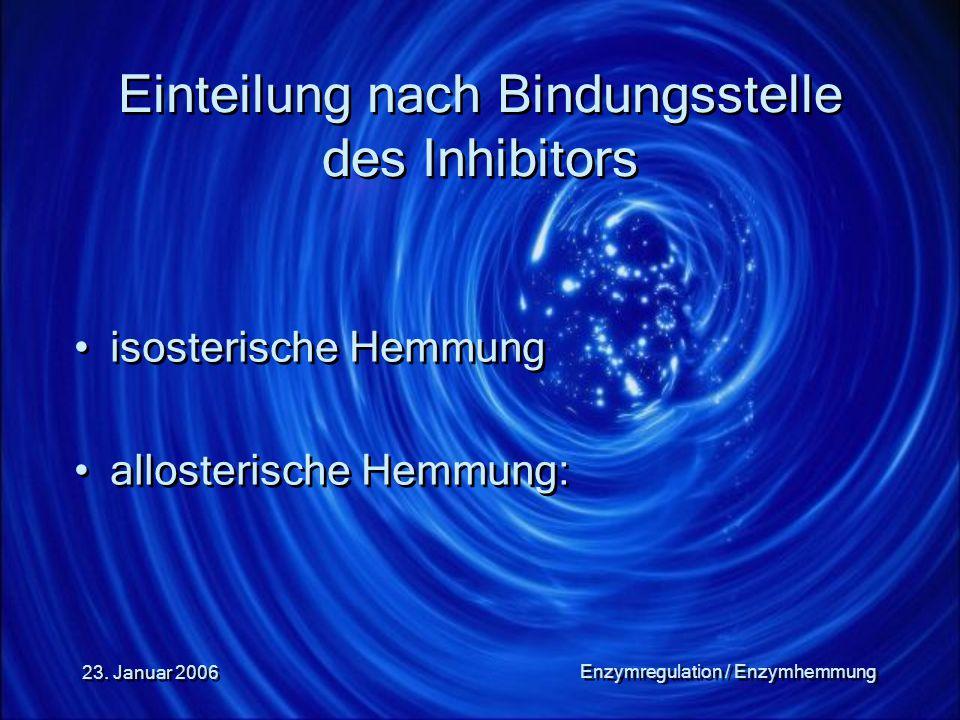 Einteilung nach Bindungsstelle des Inhibitors