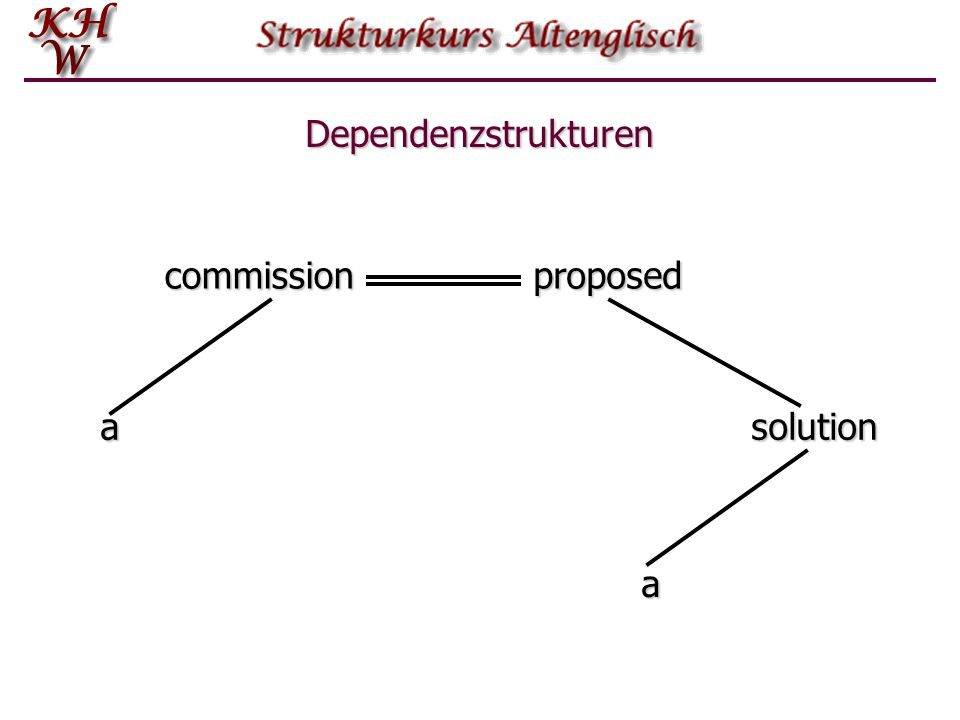 Dependenzstrukturen commission proposed a solution a