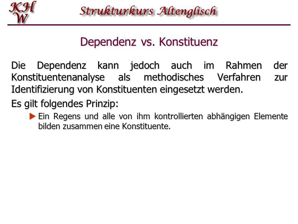 Dependenz vs. Konstituenz