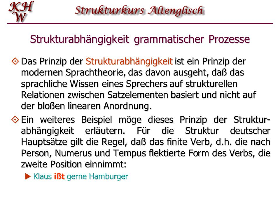 Strukturabhängigkeit grammatischer Prozesse