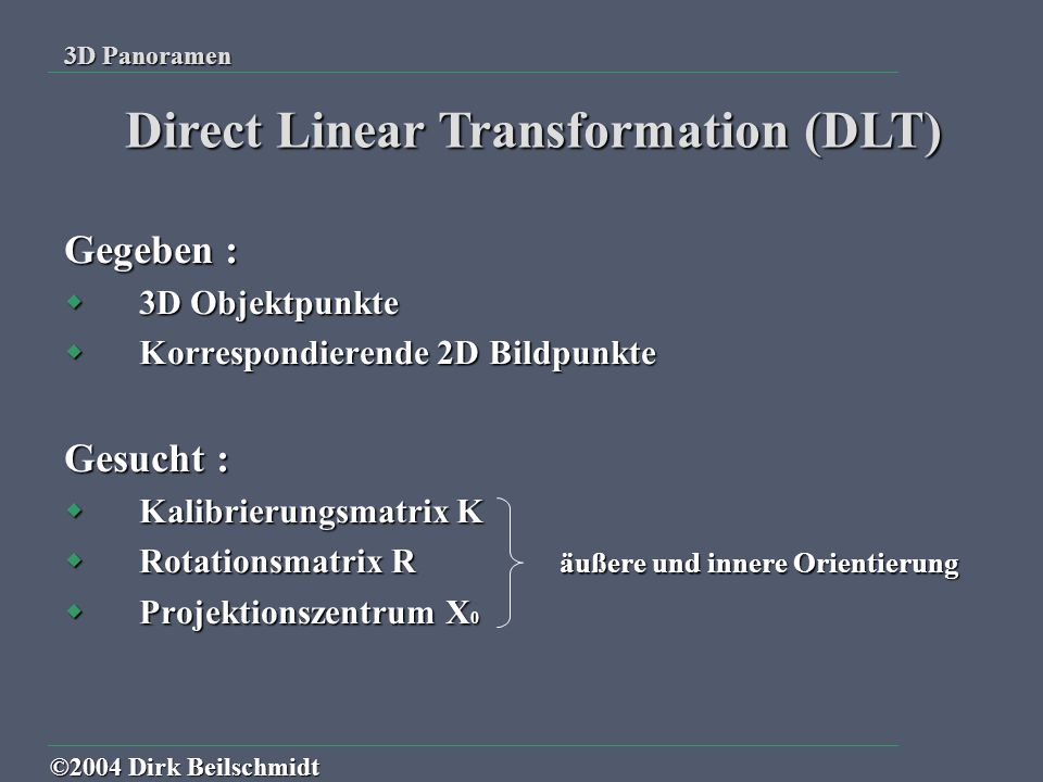 Direct Linear Transformation (DLT)
