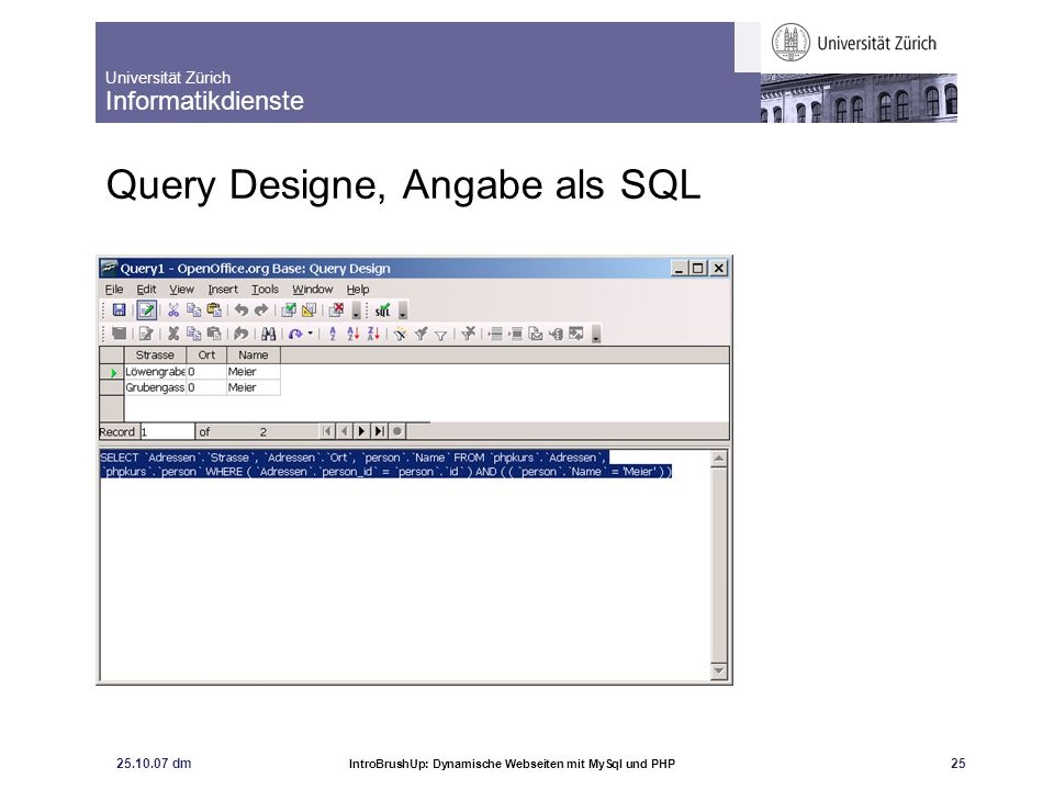 Query Designe, Angabe als SQL