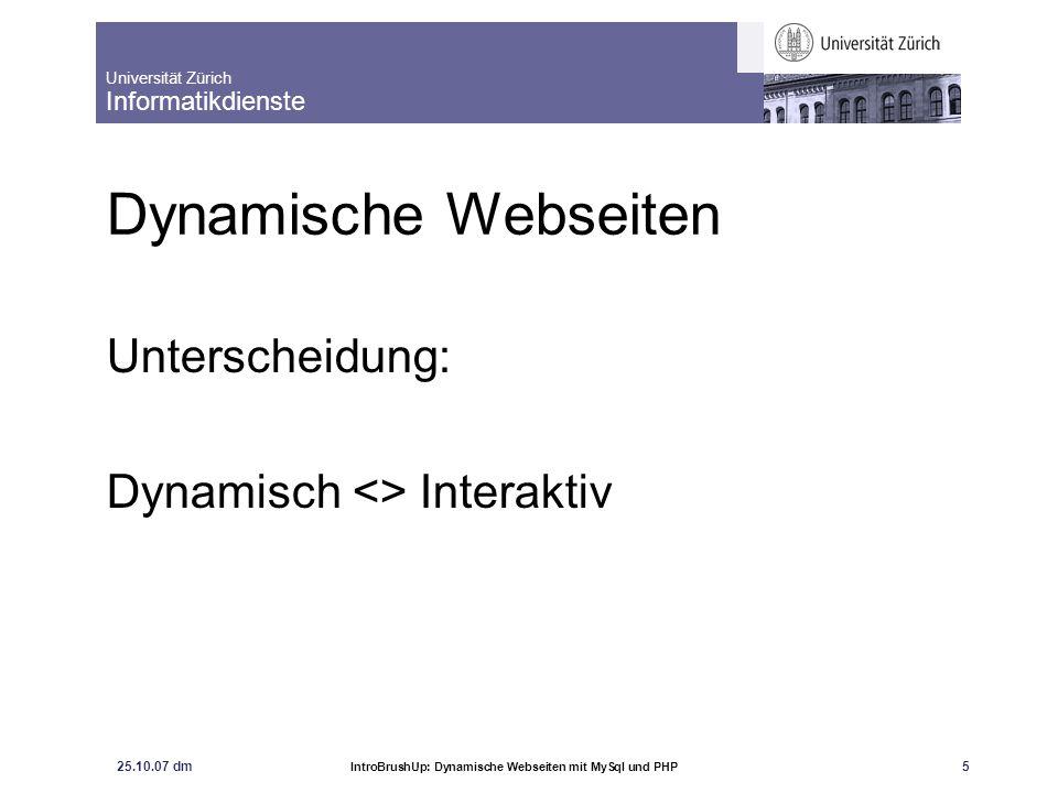 Unterscheidung: Dynamisch <> Interaktiv