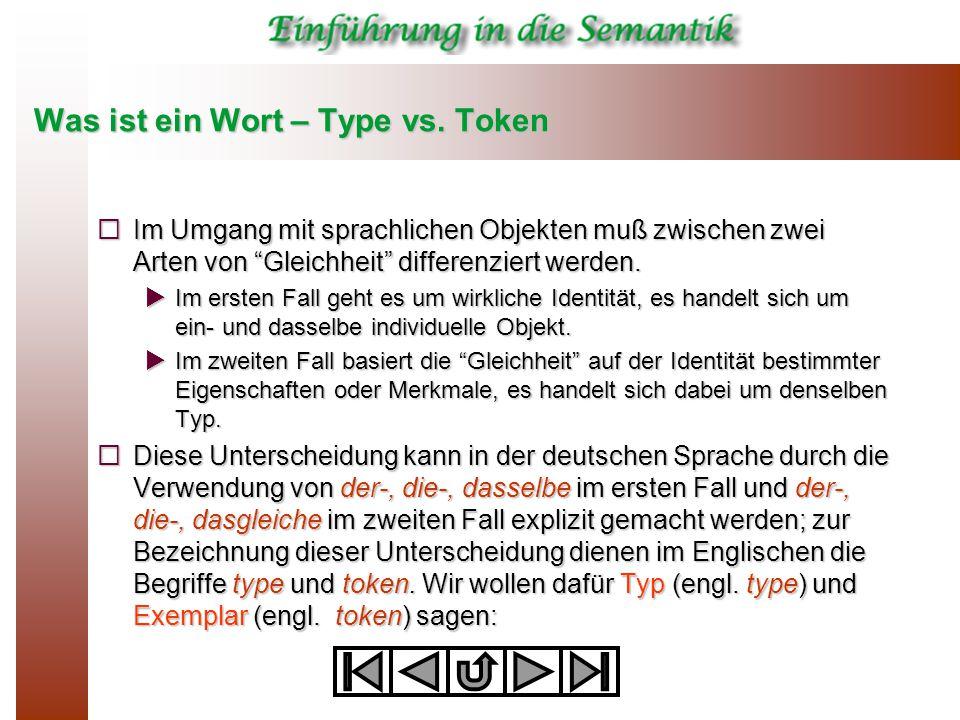 Was ist ein Wort – Type vs. Token