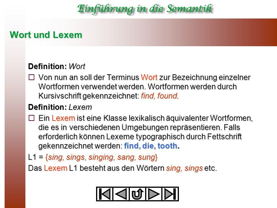 Wort und Lexem Definition: Wort