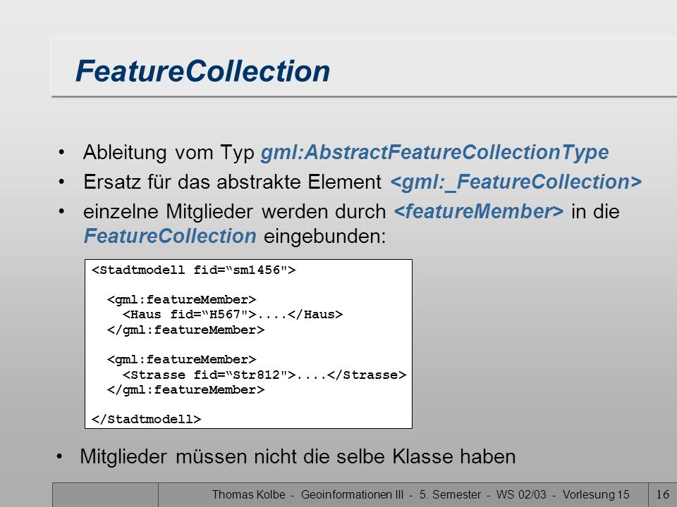 FeatureCollection Ableitung vom Typ gml:AbstractFeatureCollectionType