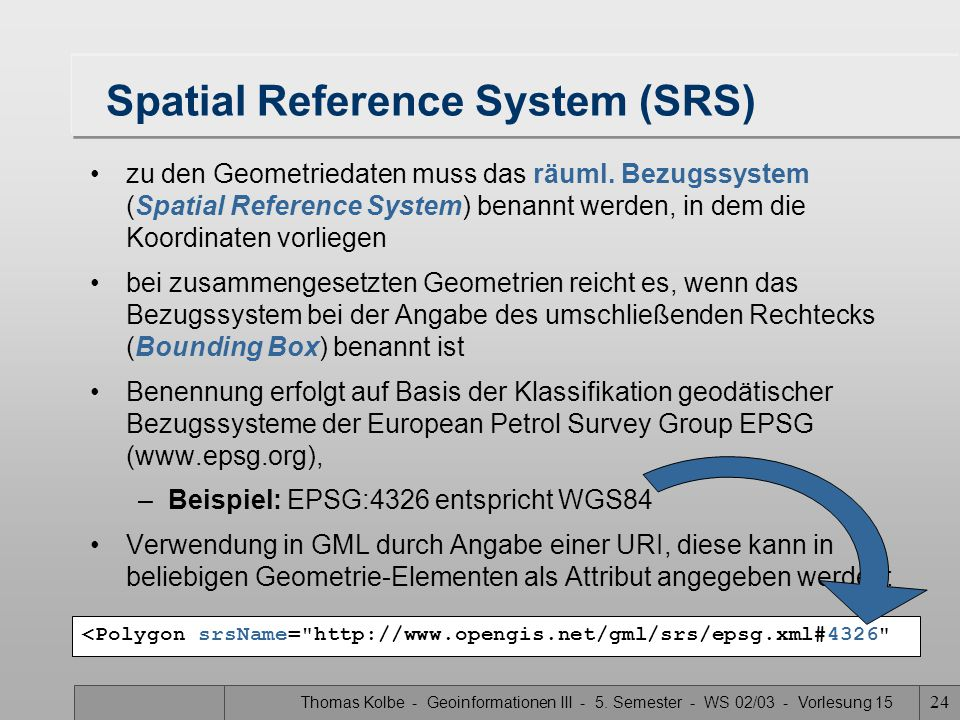 Spatial Reference System (SRS)