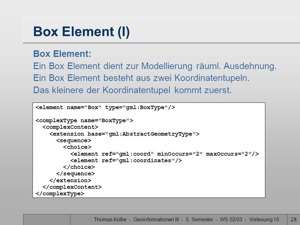 Box Element (I) Box Element: