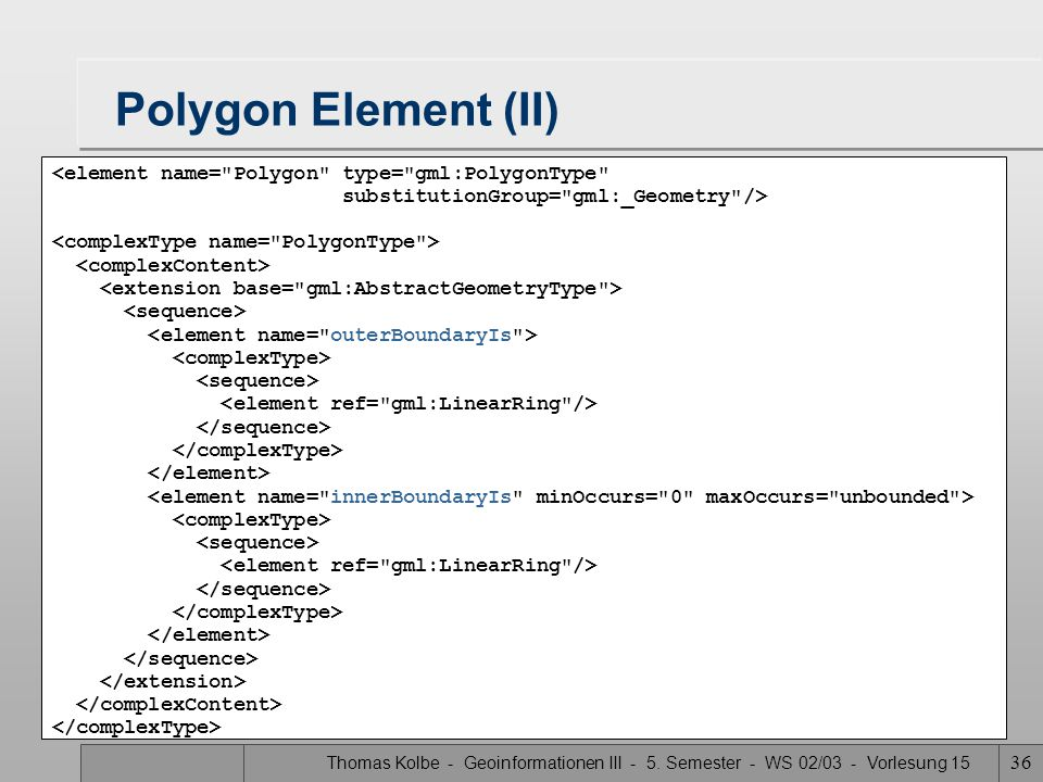 Polygon Element (II) <element name= Polygon type= gml:PolygonType