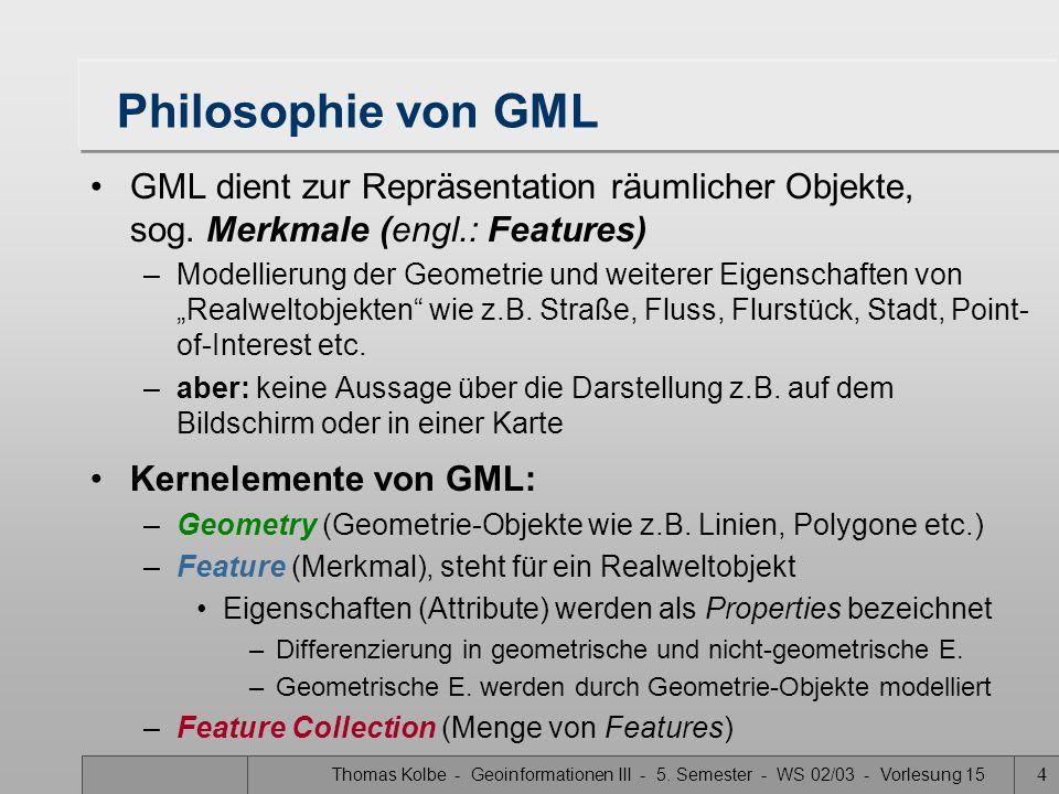 Philosophie von GML GML dient zur Repräsentation räumlicher Objekte, sog. Merkmale (engl.: Features)
