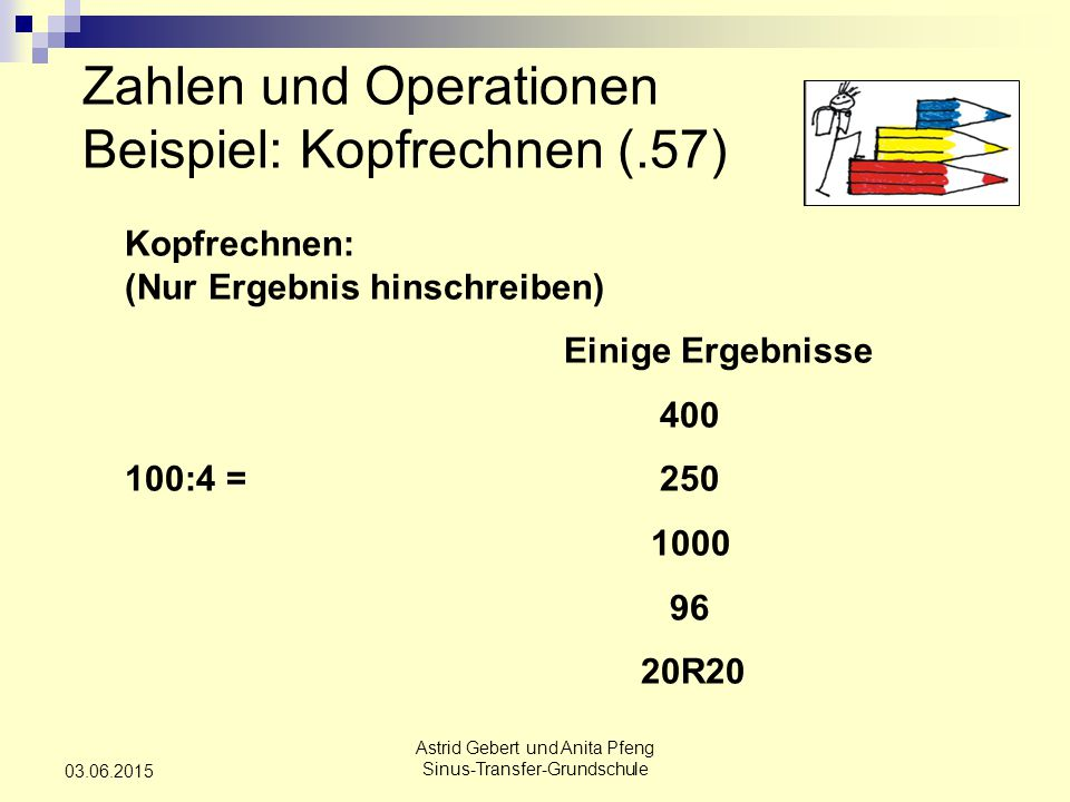 Zahlen und Operationen Beispiel: Kopfrechnen (.57)