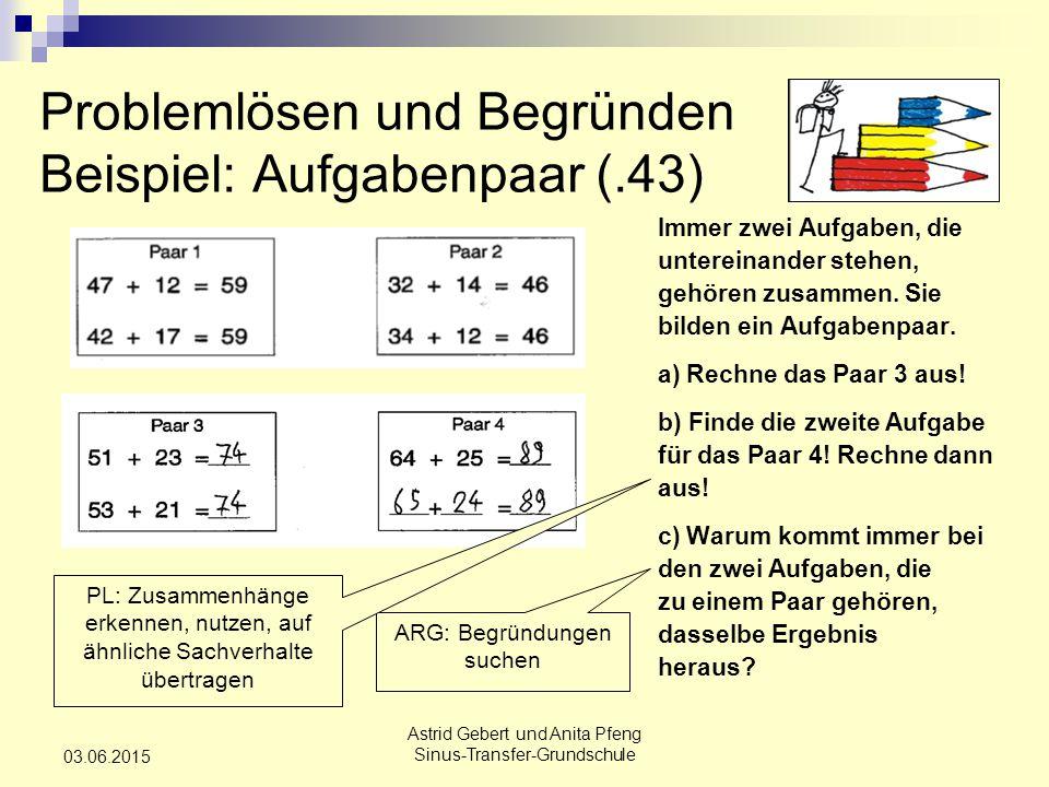 Problemlösen und Begründen Beispiel: Aufgabenpaar (.43)