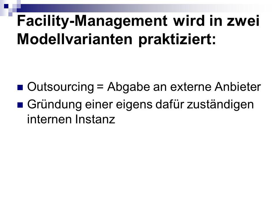 Facility-Management wird in zwei Modellvarianten praktiziert: