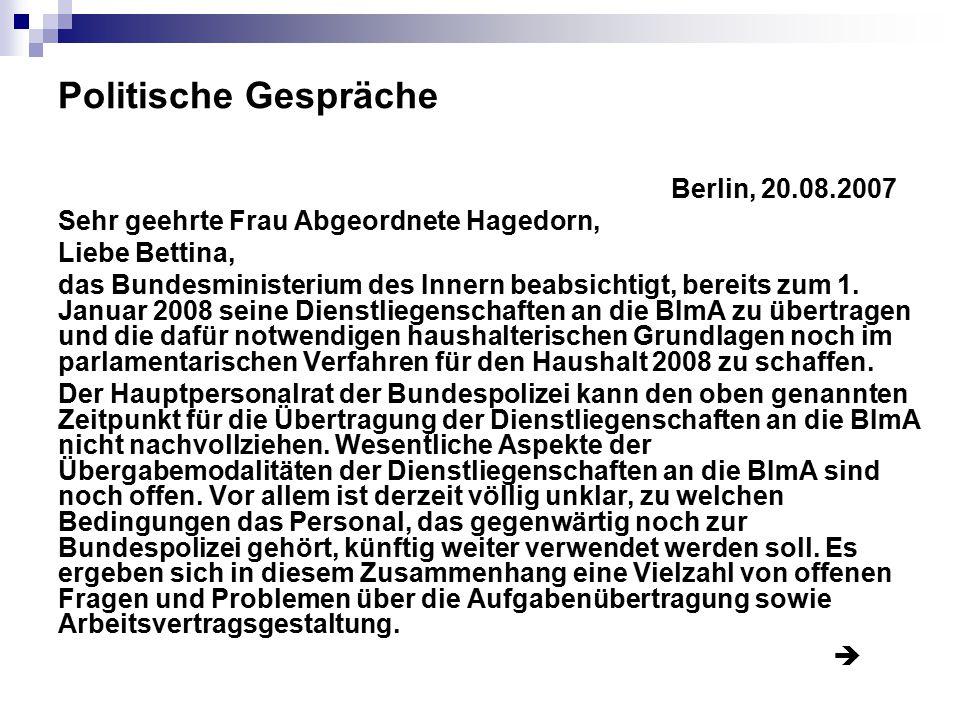 Politische Gespräche Berlin, 20.08.2007