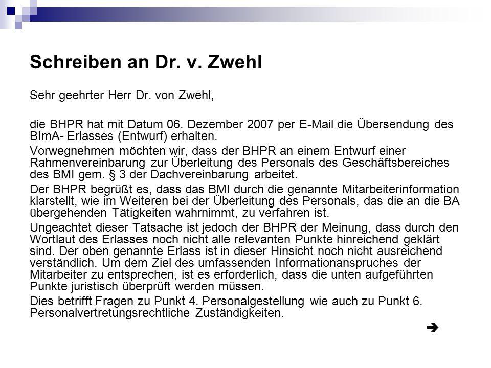 Schreiben an Dr. v. Zwehl Sehr geehrter Herr Dr. von Zwehl,