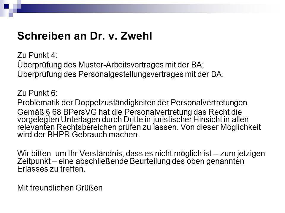 Schreiben an Dr. v. Zwehl Zu Punkt 4: