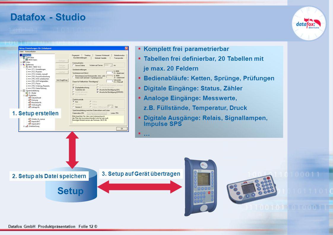 3. Setup auf Gerät übertragen 2. Setup als Datei speichern