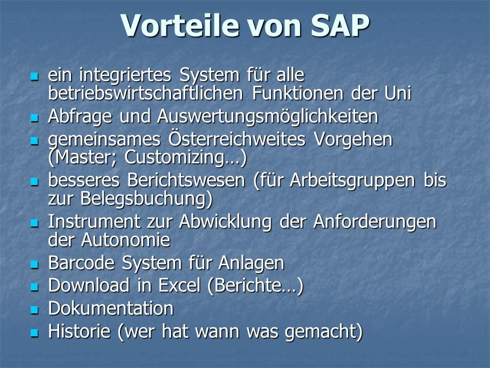 Vorteile von SAP ein integriertes System für alle betriebswirtschaftlichen Funktionen der Uni. Abfrage und Auswertungsmöglichkeiten.