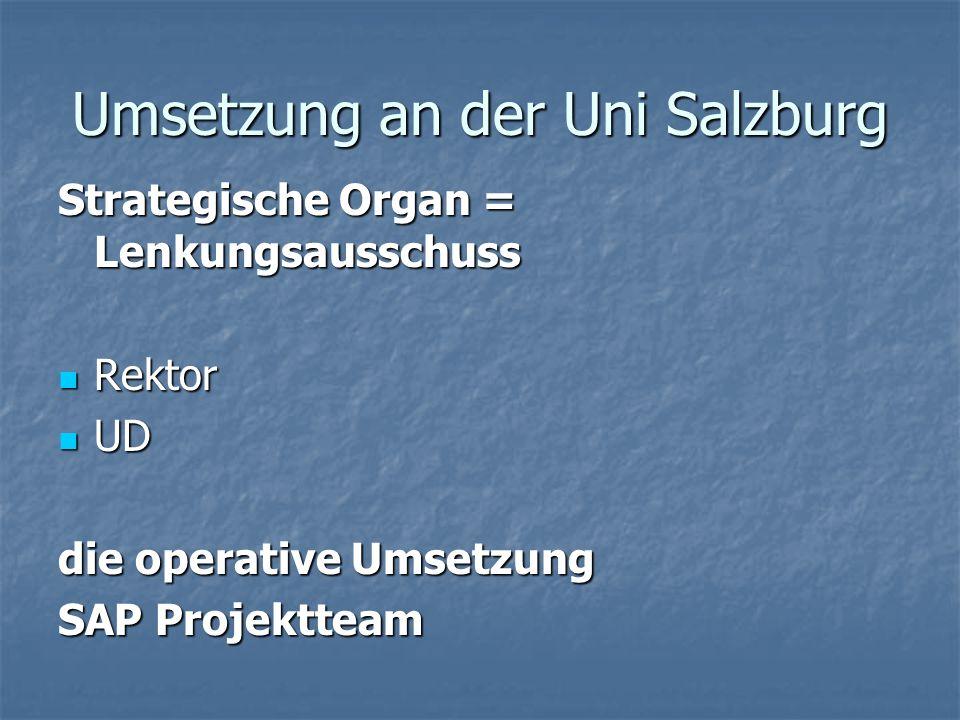 Umsetzung an der Uni Salzburg