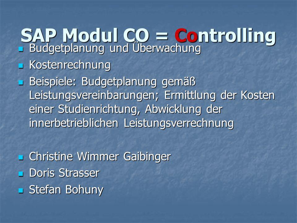 SAP Modul CO = Controlling