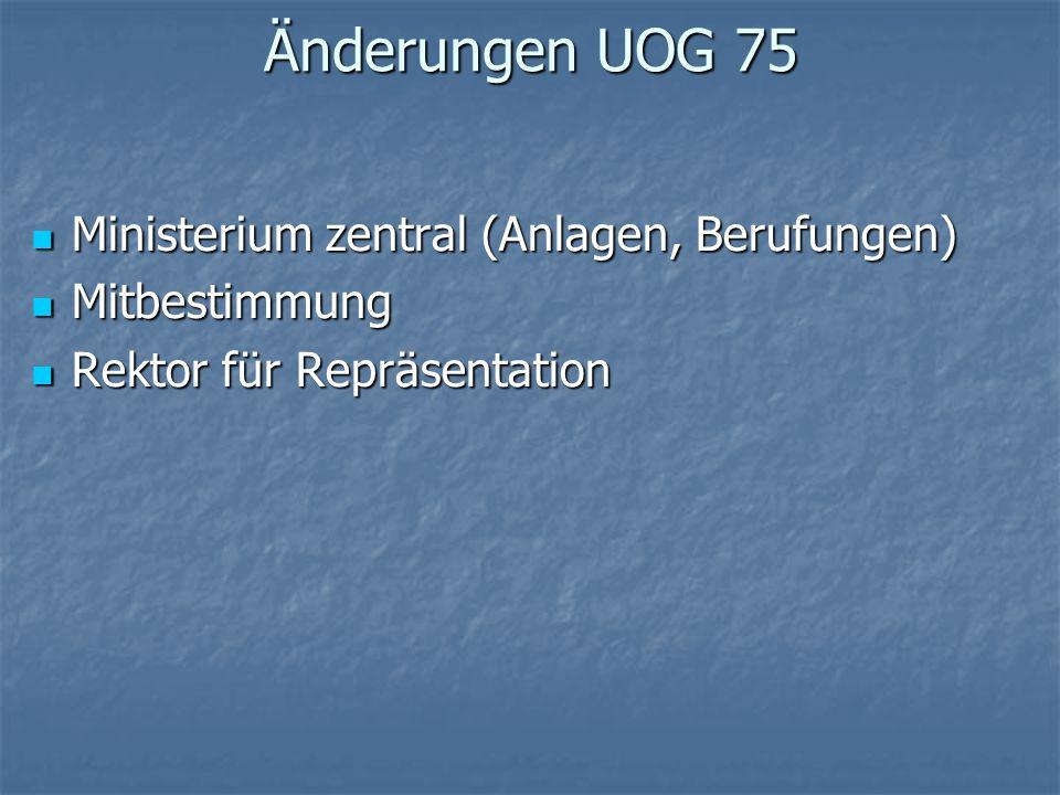 Änderungen UOG 75 Ministerium zentral (Anlagen, Berufungen)