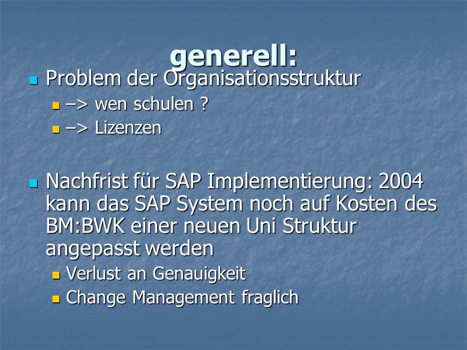 generell: Problem der Organisationsstruktur
