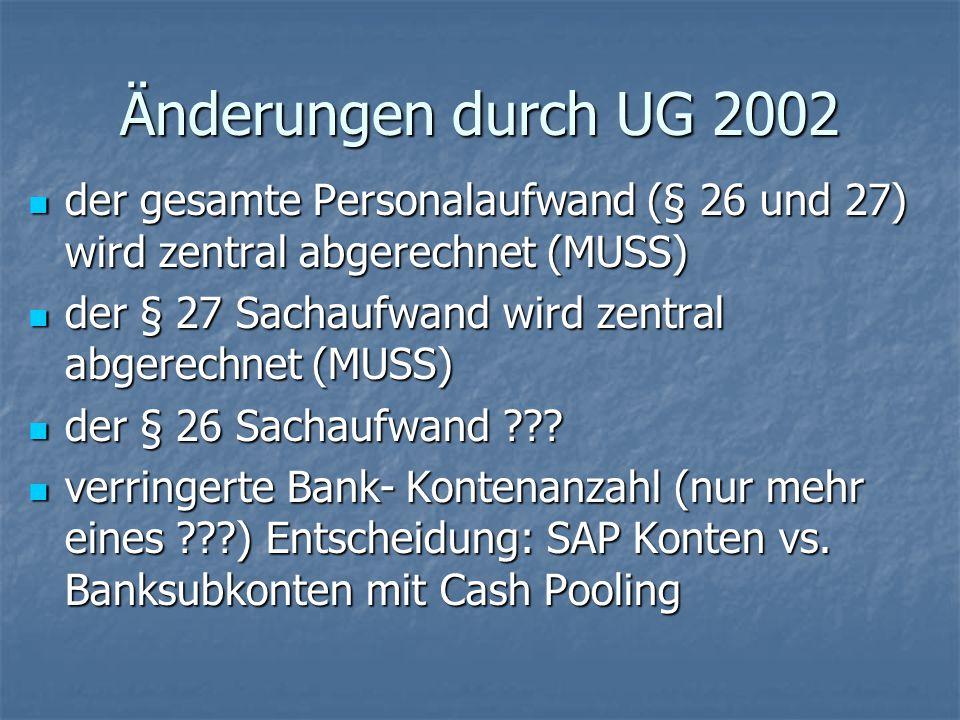 Änderungen durch UG 2002 der gesamte Personalaufwand (§ 26 und 27) wird zentral abgerechnet (MUSS)