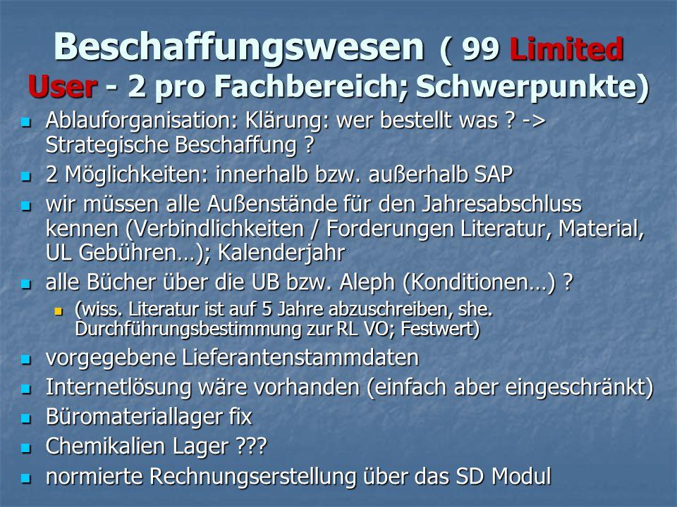 Beschaffungswesen ( 99 Limited User - 2 pro Fachbereich; Schwerpunkte)
