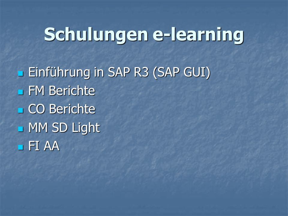 Schulungen e-learning
