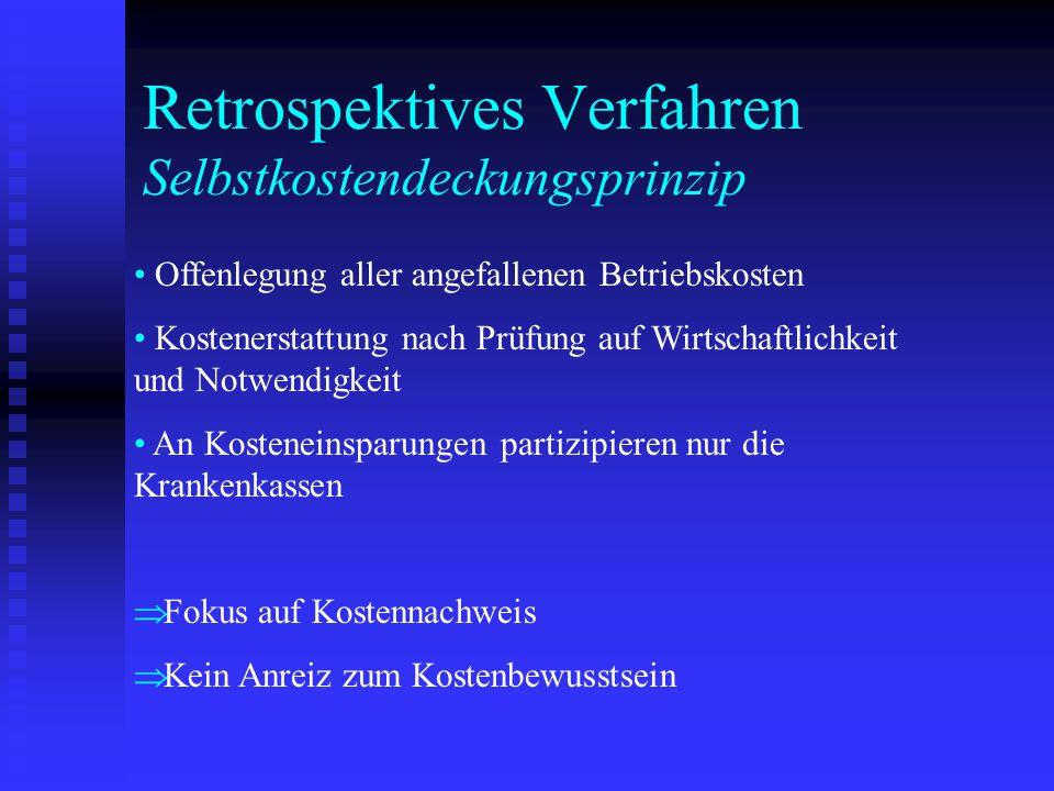 Retrospektives Verfahren Selbstkostendeckungsprinzip