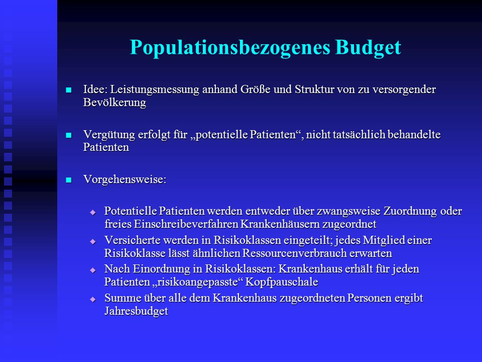 Populationsbezogenes Budget