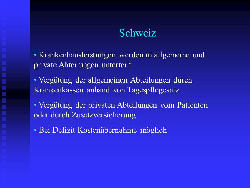 Schweiz Krankenhausleistungen werden in allgemeine und private Abteilungen unterteilt.