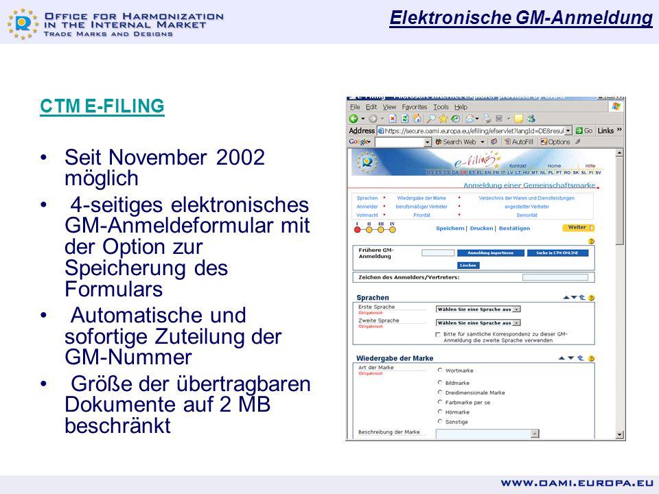 Automatische und sofortige Zuteilung der GM-Nummer