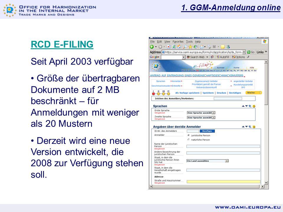 RCD E-FILING Seit April 2003 verfügbar
