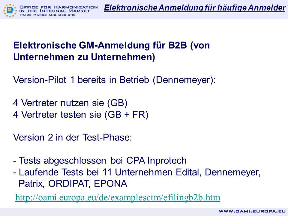 Elektronische GM-Anmeldung für B2B (von Unternehmen zu Unternehmen)