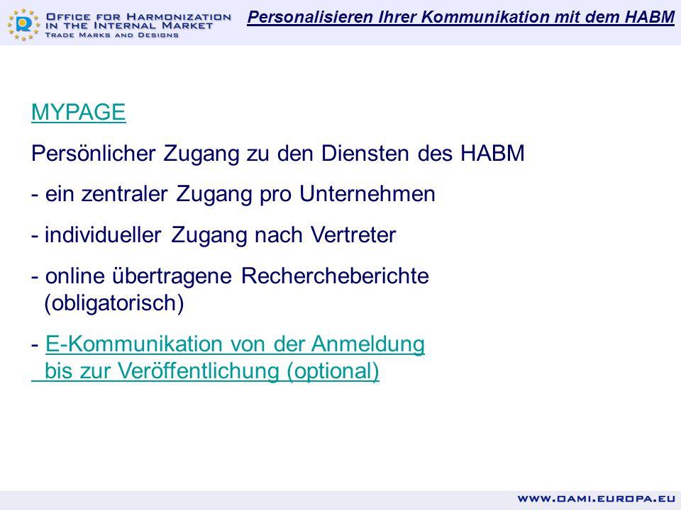 Persönlicher Zugang zu den Diensten des HABM