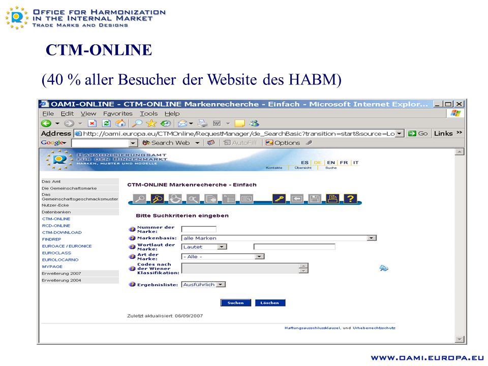 CTM-ONLINE (40 % aller Besucher der Website des HABM)