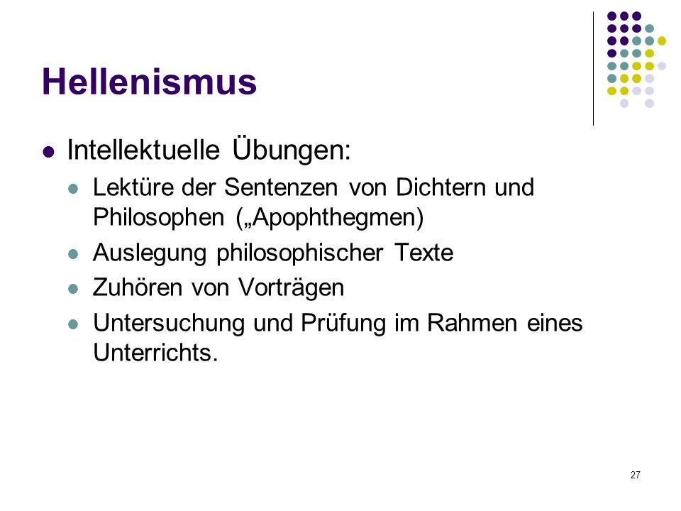 Hellenismus Intellektuelle Übungen: