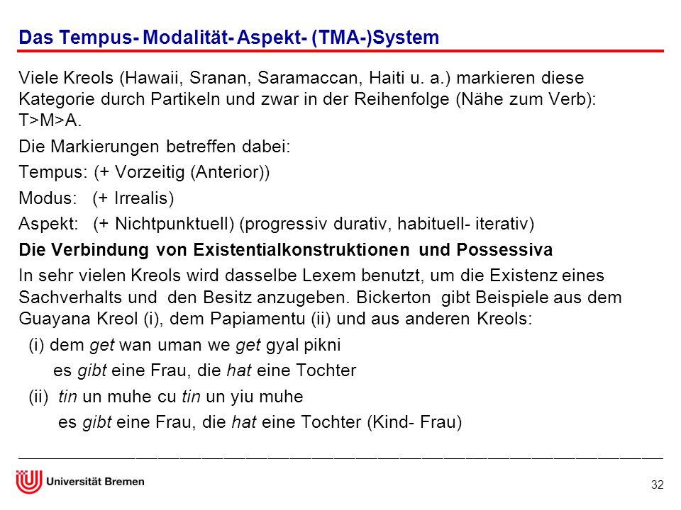 Das Tempus- Modalität- Aspekt- (TMA-)System