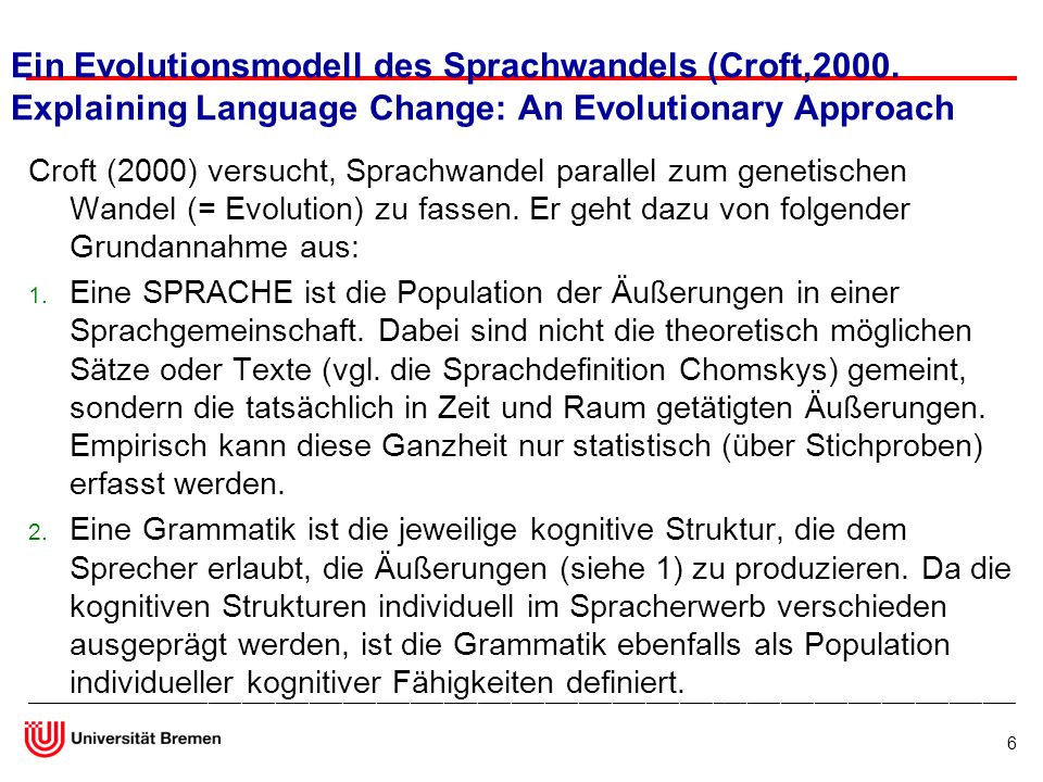 Ein Evolutionsmodell des Sprachwandels (Croft,2000