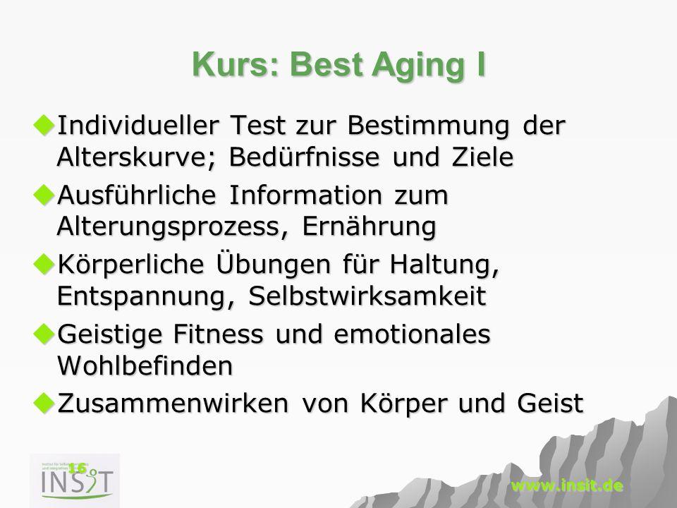 Kurs: Best Aging I Individueller Test zur Bestimmung der Alterskurve; Bedürfnisse und Ziele.