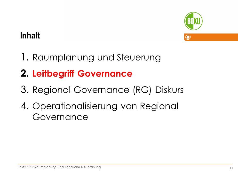 Inhalt Raumplanung und Steuerung. Leitbegriff Governance.